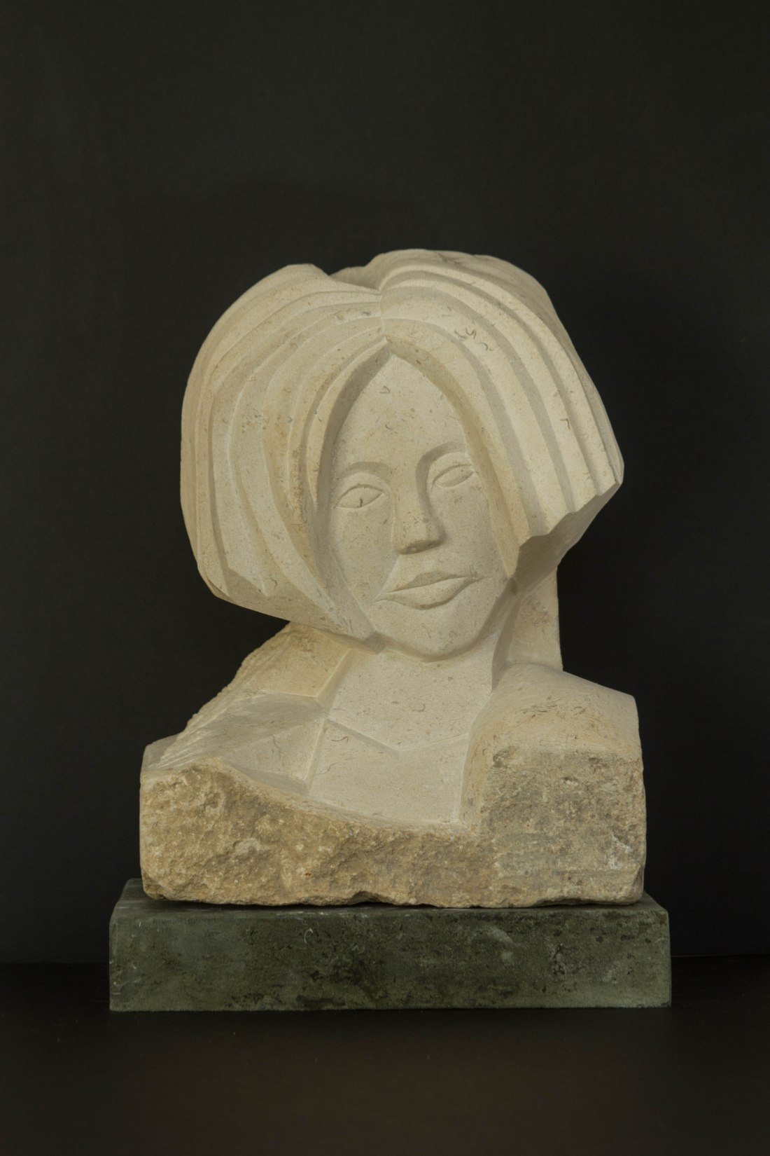 carving / sculpture of head with much hair found reclaimed stone ? Portland