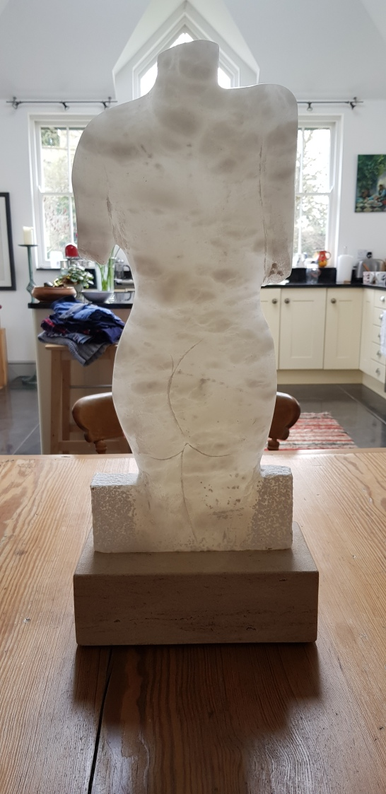 Cloud alabaster torso on Ancaster Hard white plinth II